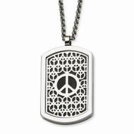 Titanium Stainless Steel Peace Sign Reversable DogTag Chain