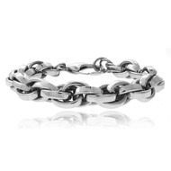 Mens Cartel Stainless Steel Interlocking Hip Hop Link Bracelet
