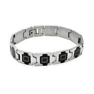 Mens Hip Hop Block Link 316L Black Enamel Design Bracelet