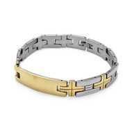 Mens Hip Hop Cross Link Gold ID Bracelet