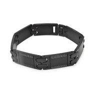 Mens Black Stainless Steel Hip Hop Design Black Bracelet