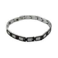 Mens Bling Square Black Enamel Celtic Design Bracelet