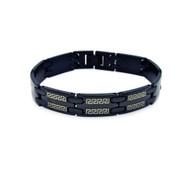 Mens Bling Stainless Steel Celtic Design Black Bracelet