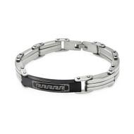 Mens Stainless Steel Black ID Celtic Design Bracelet