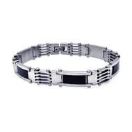 Grown Mans Style Stainless Steel Black Carbon Fiber Bracelet