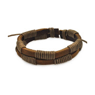 Mens Casual Bold Stainless Steel Brown Leather Bracelet