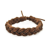 Mens Casual Class Brown Leather Braided Bracelet