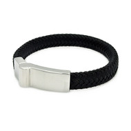 Stainless Steel Black Leather Casual Flare Bracelet