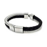 High Lyfe Stainless Steel 316L Genuine Leather Hip Hop Bracelet