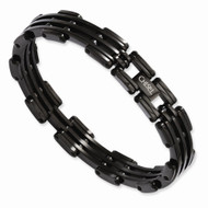 Men's Stainless Steel Black IP-plated Black Box Hip Hop Bracelet