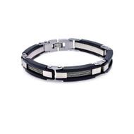 Mens Stylish Stainless Steel Center Cable Designer Bracelet