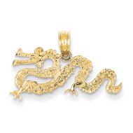 Mens 14k Yellow Gold Floating Dragon Bling Jewelz Pendant