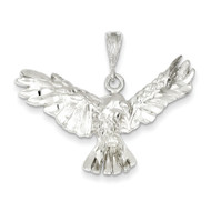 Bling 925 Sterling Silver Diamond-Cut Eagle Pendant