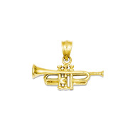 Bling Jewelz 14k Yellow Gold Trumpet 15mm Pendant