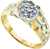 Men's 14k Gold Over Sterling Silver 0.04CTW Diamond Fashion Bling Ring