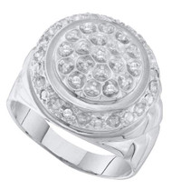 Mens Center Piece Sterling Silver 0.10CTW Diamond Ring