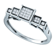 Mens Iced Out Micro Pave Rise Up Sterling Silver 0.09CTW Diamiond Ring