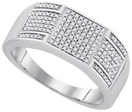 Mens Sterling Silver 0.23Ctw Diamond Micro Pave Iced Out Ring