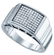 Men's Big Dog Sterling Silver 0.26Ctw Diamond Micro Pave Ring