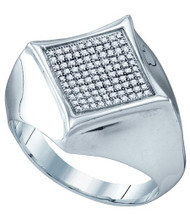 Mens Sterling Silver 0.32CTW Diamond Kite Micro Pave Ring