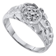0.04Ctw Genuine Diamond Mens .925 Sterling Silver Bling Ring