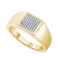 Mens 14k Gold Over 925 YP 0.15Ct Diamond Micro Pave Mens Iced Out Ring