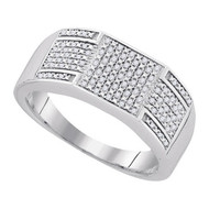 Mens 925 Sterling Silver WP 0.23 Ctw-Diamond Micro-Pave Ring