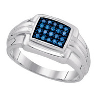 Mens Hip Hop 925 WP 0.25 Ctw-Blue Diamond Ring