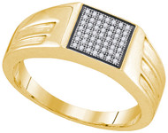 Men's 14k Gold 0.15 Ctw Diamond Micro Pave Iced Out Ring