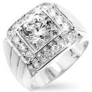 Men's Iced Out Rhodium Silver Finish Diamond Cz Ring