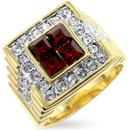 Mens Iced Out Blood Crystal Diamond Cz Bling Ring
