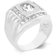 Men's Iced Out Deep Set Players Square Diamond Cz Ring