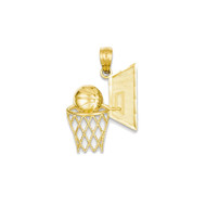 Mens 14k Yellow Gold Basketball Hoop Pendant
