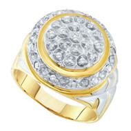 Mens Center Piece 925 YP 0.10Ct Diamond Bling Ring