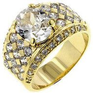 Mens 18k Gold Iced Out Boss Man Diamond Cz Bling Ring