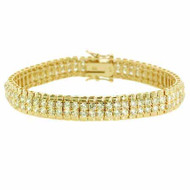 Mens 18K Gold / Sterling Silver Diamond Cz Two Row Iced Out Bracelet