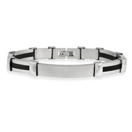 Mens Stainless Steel and Rubber Striped Bracelet with Engravable Plate