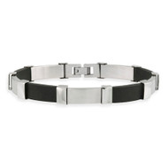 Stainless Steel and Rubber Rectangular Men's Hip Hop Link Bracelet