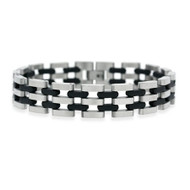 Stainless Steel and Rubber Accented Men's Link Bracelet
