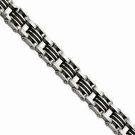 Mens For The Brave Stainless Steel Black Rubber Satin Bling Bracelet