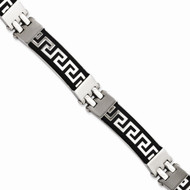 Mens Stainless Steel Black Rubber w/Greek Key Design Bling Bracelet