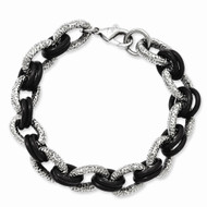 Mens Forever Champion Stainless Steel Textured Black Bling Bracelet