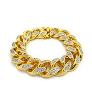 Mens 14k Gold Hand Set Diamond Cz Top Quality Cuban Link Bracelet