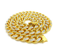 Mens 14k Gold Hand Set Diamond Cz Top Quality Stone Cuban Link Chain