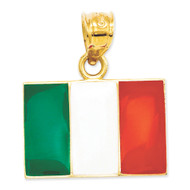 Bling Jewelz 14k Yellow Gold Green White and Red Enamel Italy Flag Pendant