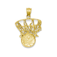 14k Yellow Gold Basketball and Hoop Pendant