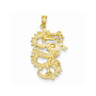 14k Yellow Gold Solid Fire Breathing Dragon Pendant
