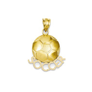 14k Yellow Gold Soccer Ball Bling Jewelz Pendant