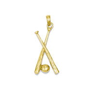 14k Yellow Gold Baseball Bats Bling Jewelz Pendant