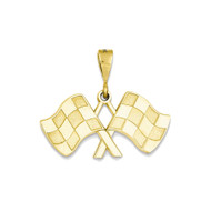 14k Yellow Gold Racing Flag Charm Pendant - 25mm